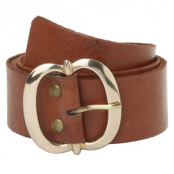 Dark brown leather belt with brass buckle