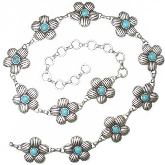 Chain belt with flowers incl. blue stones