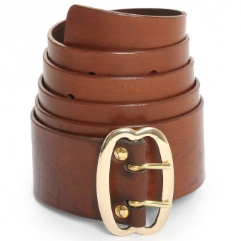 Broad leather belt with brass buckle, brown