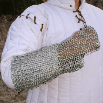 Chain mail arm protector with leather lacing