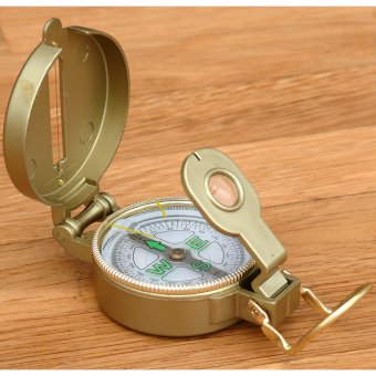 Lensatic compass with metal housing, oil-filled