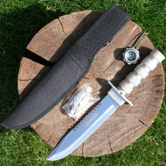 Survival knife with compass and plenty of accessory