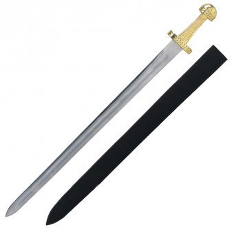 Viking sword with leather scabbard
