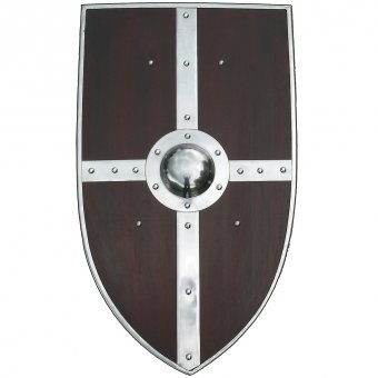 Robust wooden battle shield with boss