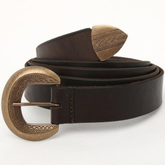 Leather belt with a decorated buckle and a strap end