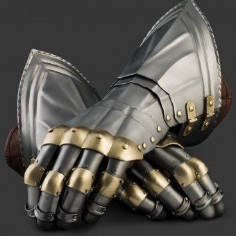 Gauntlets with brass segments, German style, year 1450-1500