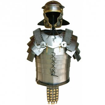 Roman legionaries armor Lorica Segmentata with mail shoulder guards