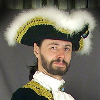 Tricorn hat with feather puff