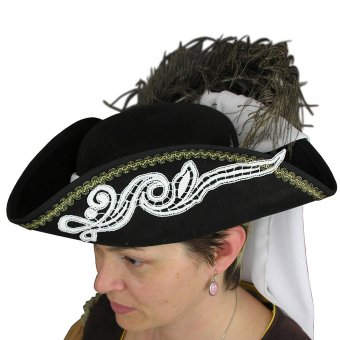 Ladies' tricorn hat with lace appliques
