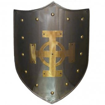 Shield with brass Celtic cross