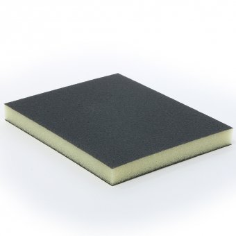 Abrasive sponge for wood, plastic and metal. For wet and dry use