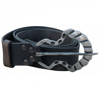 Leather belt with a hand forged buckle