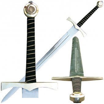 One-and-half sword Ebroin with brass pommel and guard