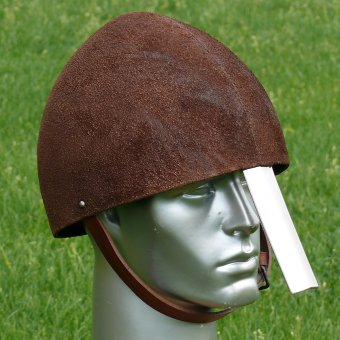 Norman helmet coated with leather