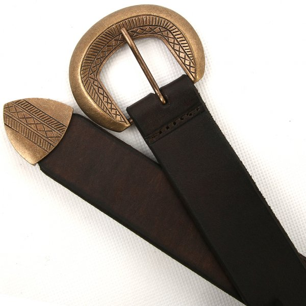 leather belt with a decorated buckle and a end