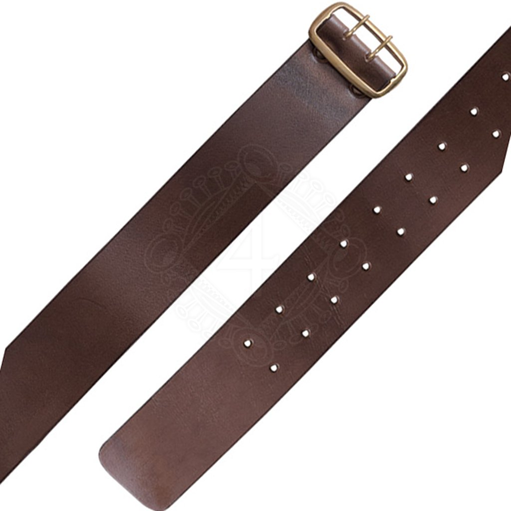 brown leather belt with wide brass buckle outfit4events