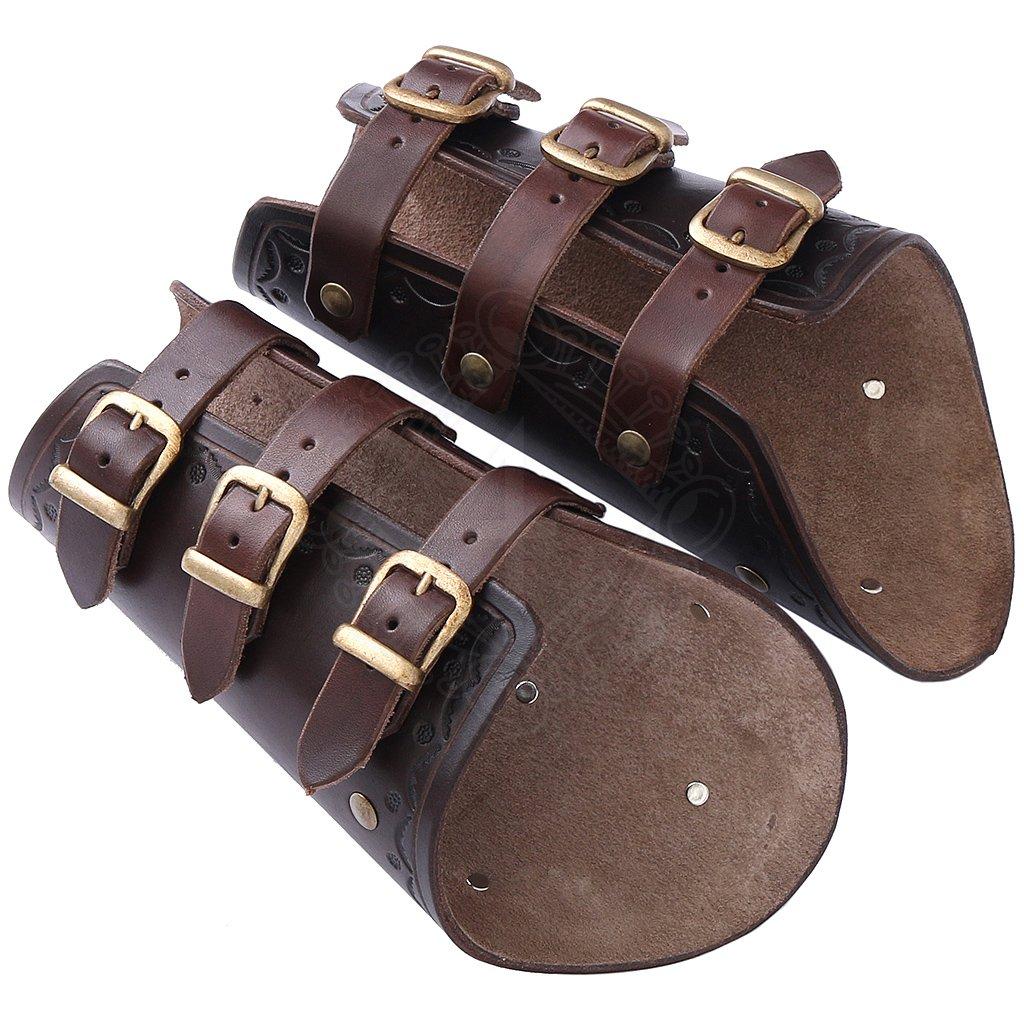 Pair Of Leather Bracers Three Belts Black
