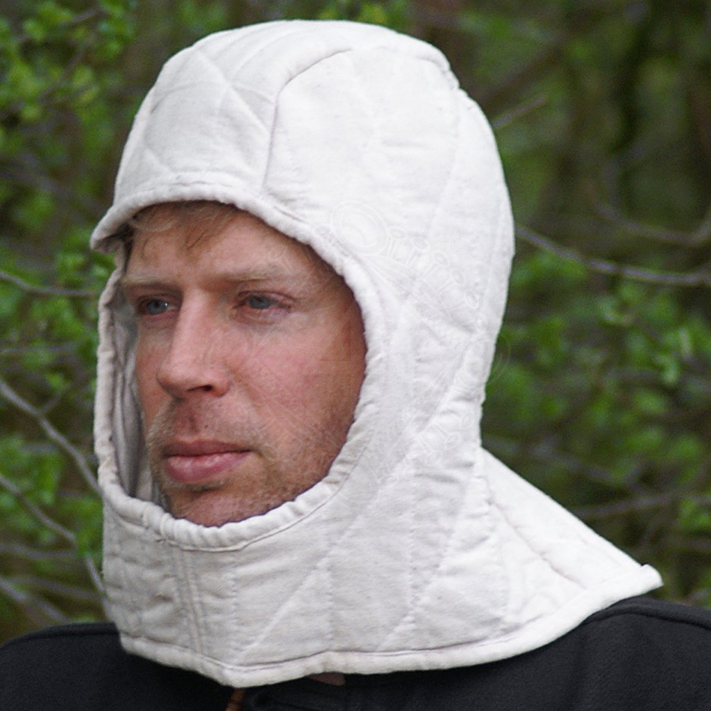 Renaissance Medieval Cotton Padded  Middle AgesBattle Coif Arming Cap Hat White