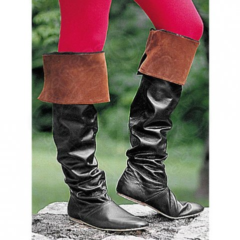 Black Knee High Boots with Brown Cuff
