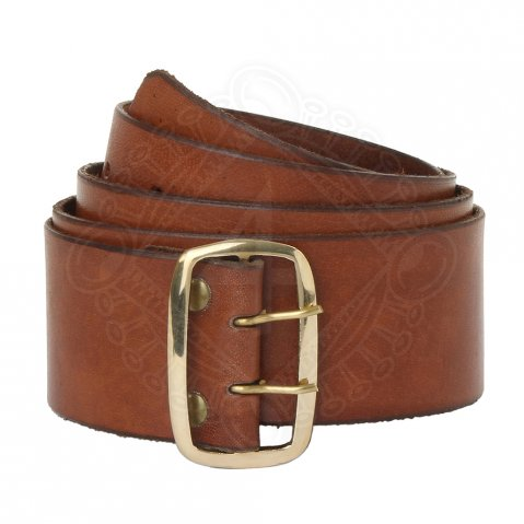 Dark brown leather belt with wide brass buckle