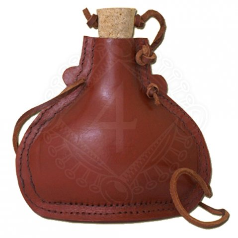 Steel flask, leather covered