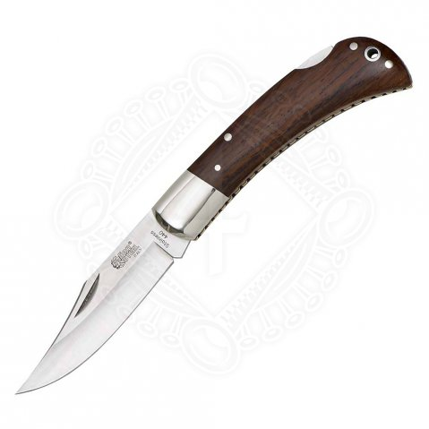 Pocketknife with handle cover from fine root wood