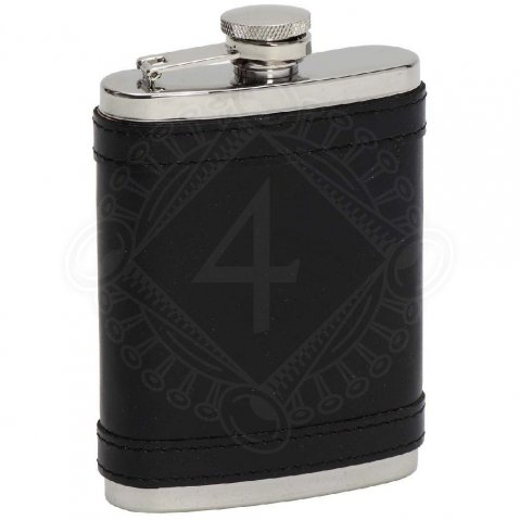 Hip flask coated with black leather