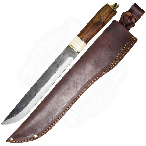 Sax knife with handle of olive wood and bone
