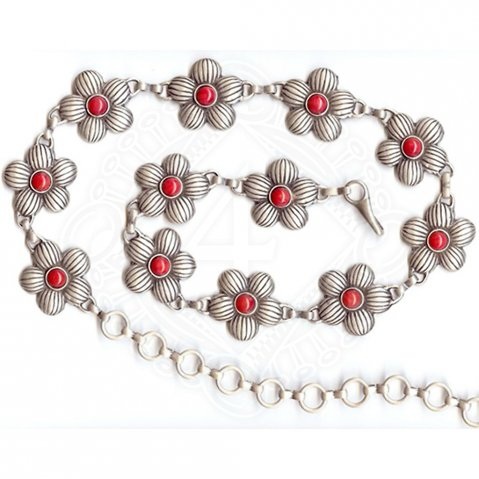 Chain belt with flowers incl. red stones