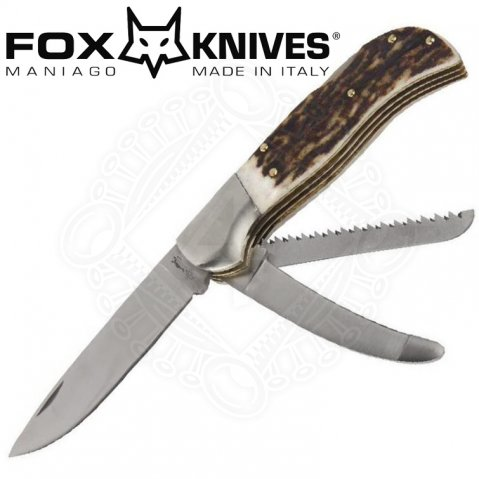 Folding hunter pocket knife by Fox with 3 blades