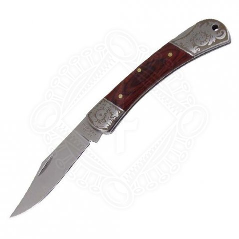 Pocketknife with elegant wooden handle cover with fein decorated bolsters.