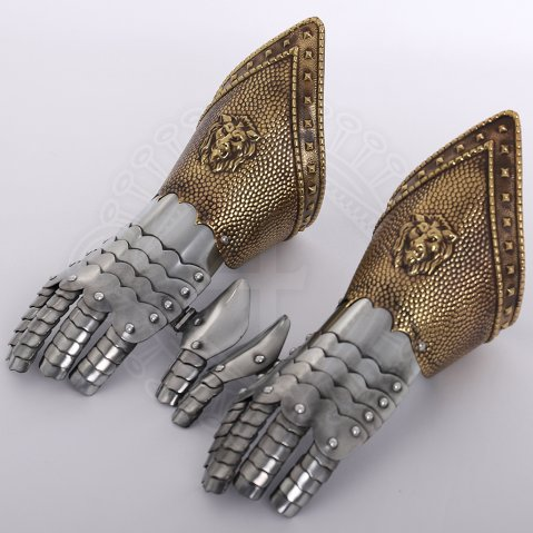 Steel gauntlets with embossed brass-finish cuffs