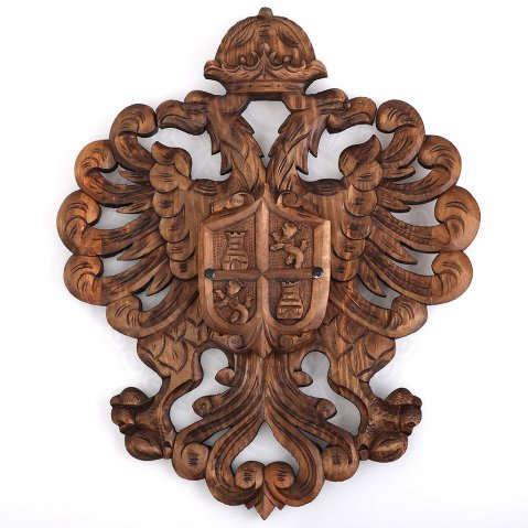 Hand-carved heraldic blazon w. castle tower and lion