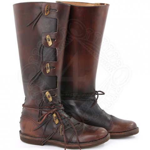 High Viking Boots with horn buttons