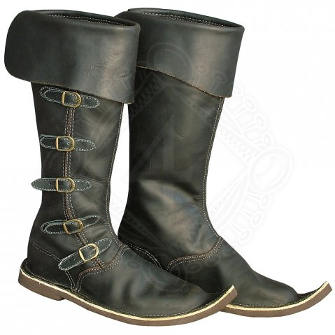 Gothic high boots with side buckles
