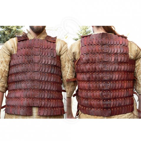 Lamellar cuirass from genuine leather