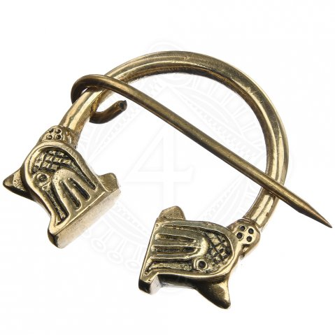 Sturdy Viking fibula with dragon heads