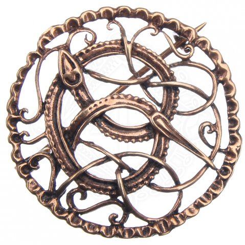 Viking Brooch made of bronze with Midgard Serpent motif, 40 mm