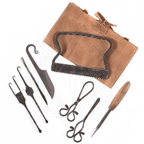 Medieval surgical kit with leather bag