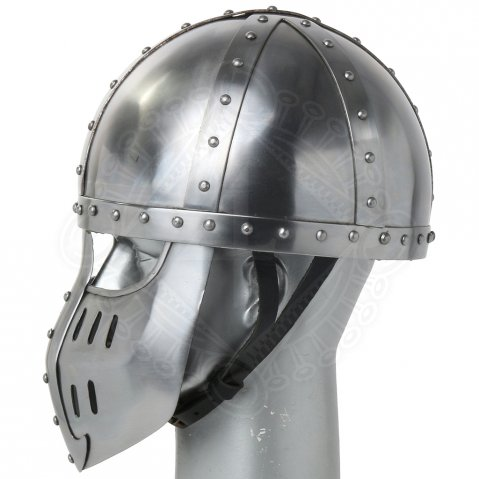 Late medieval helmet Spangenhelm with face plate