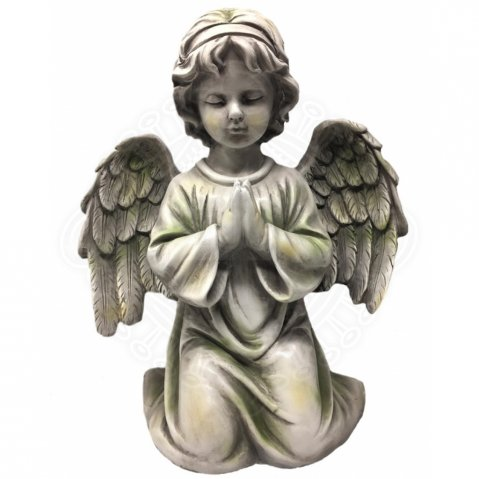 Grave Angel kneeling, praying, gray