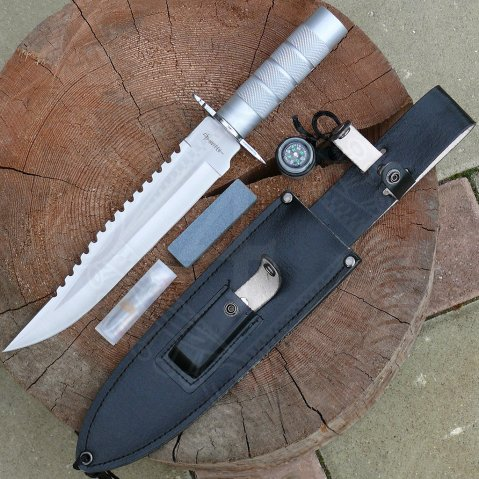 Survivor knife with compass and plenty of accessory
