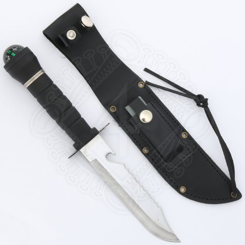 Survival knife with liquid filled compass