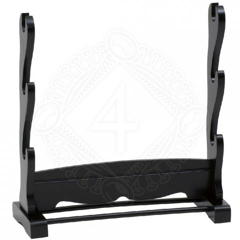 Samurai stand - table stand for three Samurai sword, pickled in black.