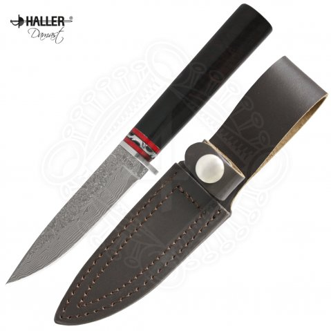 Damask steel knife with ebony handle