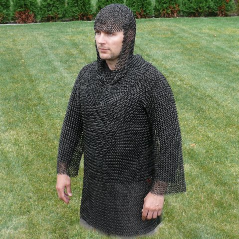 Chain mail shirt and hood, black