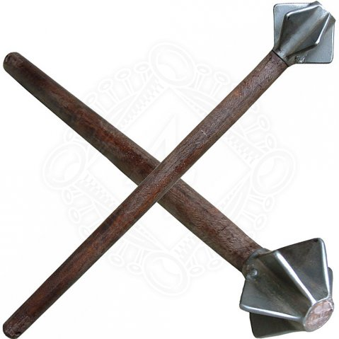 Flanged mace with wooden shaft