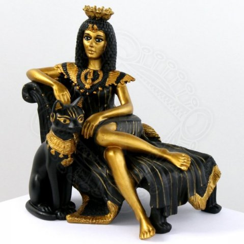 Resin Statue Kleopatra and Bastet