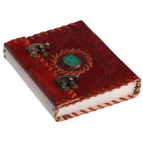 Notebook in leather binding with stone on cover