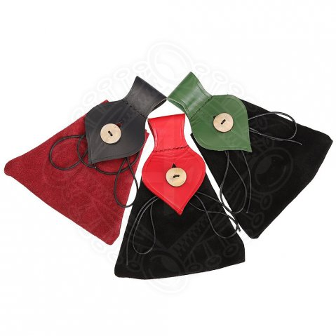 Medieval Pouch-Bag Red and Black with Horn Button